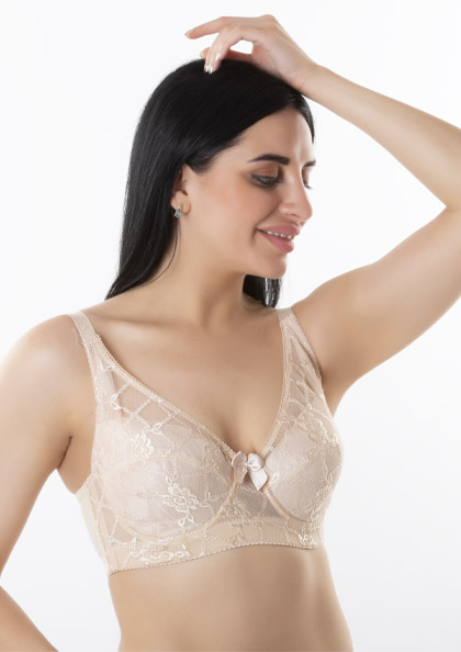 Simply Natural Camellia Classics Wired Padded Delicate Lace Comfort Minimizer Bra | Lovebird
